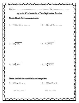 2 Digit Divisors- Worksheet Teaching Resources | Teachers Pay Teachers