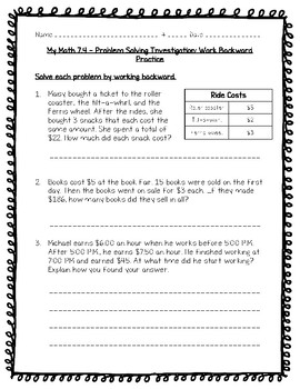 My Math - 5th Grade - Chapter 7 - Expressions and Patterns Worksheets