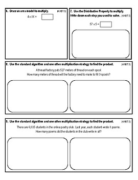 My Math Chapter 4 Multiply with One-Digit Numbers Assessment 4th Grade