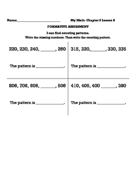 My Math Chapter 5 Formatives