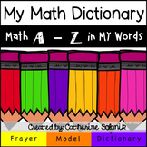 *Free* My Math Dictionary (A - Z) Pages and Frayer Model Template