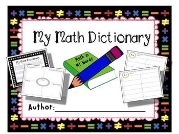 My Math Dictionary {Free} Graphic Organizer for Math Vocab