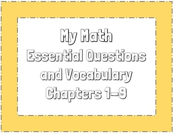 Mcgraw-Hill MyMath Essential Questions and Vocabulary 3rd Grade