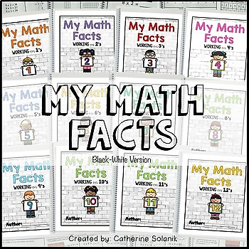 Math Facts Kids Theme ~Multiplication Intervention 3.4E 3.4F (BW Version)