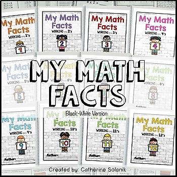 Math Facts Kids Theme ~Multiplication Intervention 3.4E 3.4F (BW Version)