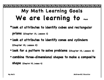 """My Math First Grade """"I Can"""" Posters Chapter 10"""