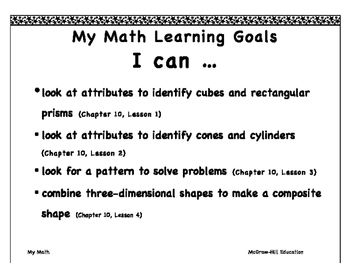 "My Math First Grade ""I Can"" Posters Chapter 10"