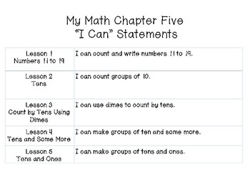 "My Math First Grade - ""I Can"" Statements Chapter 5"