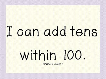 """My Math First Grade - """"I Can"""" Statements Chapter 6"""