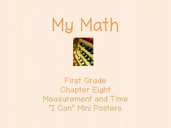 """My Math First Grade - """"I Can"""" Statements Chapter 8"""