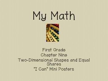 "My Math First Grade - ""I Can"" Statements Chapter 9"