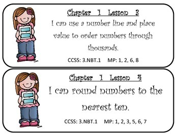 Mc Graw-Hill My Math! Grade 3 All Chapters Objectives Cards