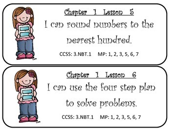 My Math! Grade 3 All Chapters Objectives Cards