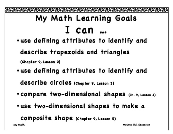 """My Math First Grade """"I Can"""" Posters Chapter 9"""