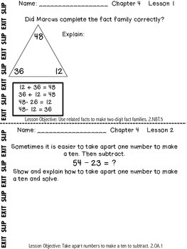My Math McGraw-Hill Chapter 4 Exit Slips Grade 2