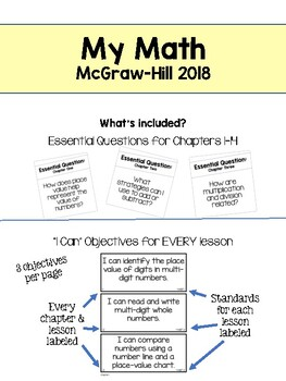My Math McGraw-Hill  Essential Questions & I Can Objectives  Grade 4  Color  & BW