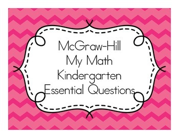 My Math (McGraw-Hill) Essential Questions for Kindergarten