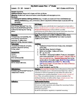 My Math (McGraw-Hill) Grade 1 Chapter 10 Lesson Plans