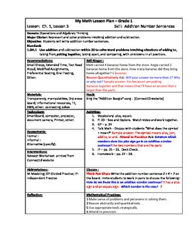 My Math (McGraw-Hill) Grade 1 Chapter 1 Lesson Plans