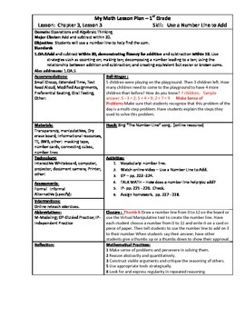 My Math (McGraw-Hill) Grade 1 Chapter 3 Lesson Plans