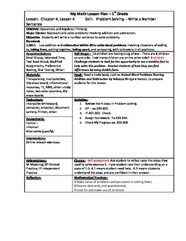My Math (McGraw-Hill) Grade 1 Chapter 4 Lesson Plans