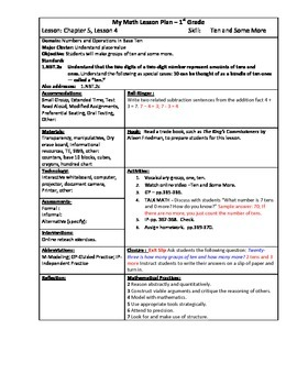 My Math (McGraw-Hill) Grade 1 Chapter 5 Lesson Plans - 2013 edition