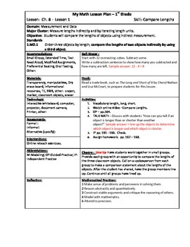 My Math (McGraw-Hill) Grade 1 Chapter 8 Lesson Plans