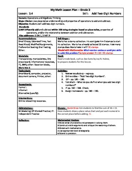 My Math (McGraw-Hill) Grade 2 Chapter 3 Lesson Plans