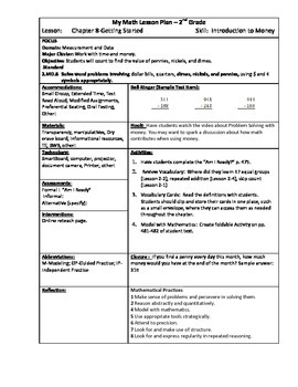 My Math (McGraw-Hill) Grade 2 Chapter 8 Lesson Plans