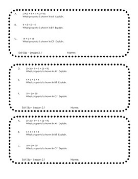 My Math McGraw Hill Third Grade Chapter 2 formative assessment slips