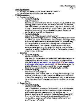 My Math SAS Lesson Plans Unit 1 and Unit 2