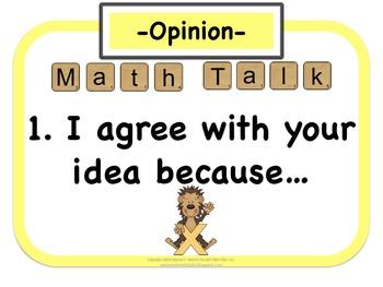 My Math Talk Sentence Starters - MONKEY edition
