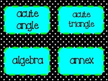"""My Math"" Vocabulary Word Wall"