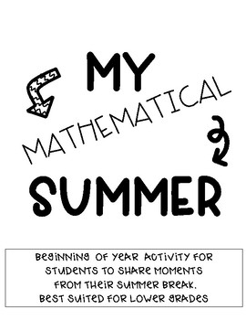 Beginning of Year Activity: My Mathematical Summer