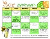My  May Homework Calendar