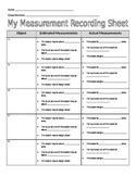 My Measurement Recording Sheet