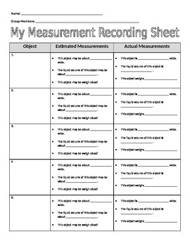 My Measurement Recording Sheet