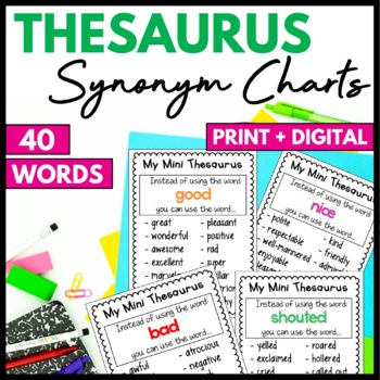 Thesaurus Charts - synonyms for common words by Miss P's Style   TpT