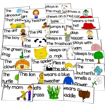 Sentence Building, Structure & Writing My Mom Eats Flies Silly Sentences for K-1
