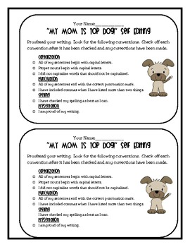 My Mom is Top Dog: 7 Days of Writing Lesson Plans Perfect for Mother's Day