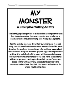 my monster a halloween descriptive writing activity by a ruffo tpt. Black Bedroom Furniture Sets. Home Design Ideas