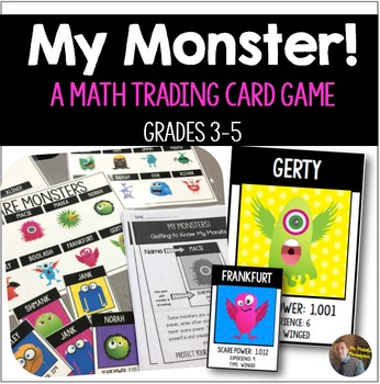 My Monster! Math Trading Card Games- Addition, Subtraction, and Multiplication