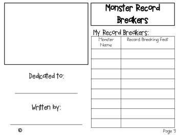 My Monster Record Breakers Book ~ Creative Writing Project!