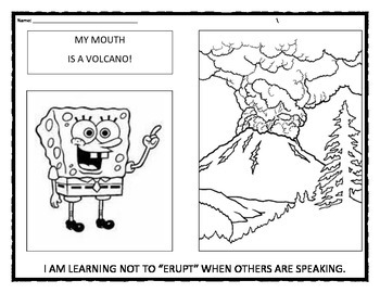 My Mouth Is A Volcano: Interrupting coloring sheet