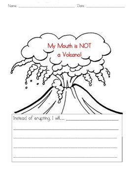 My mouth is a volcano writing activity for thanksgiving
