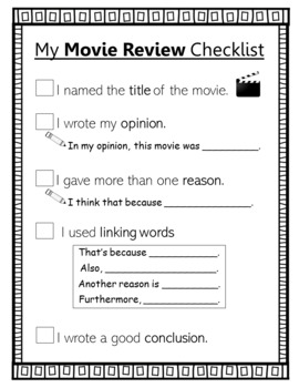 My Movie Review Writing Checklist (2nd grade standards-aligned)