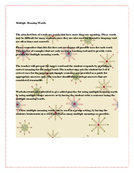 My Multiple Meaning Words and Worksheets (Penguin Theme)