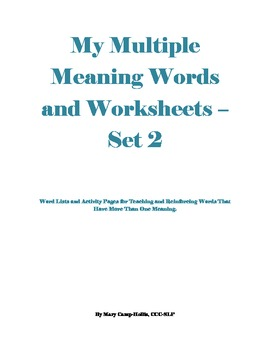 My Multiple Meaning Words and Worksheets - Set 2