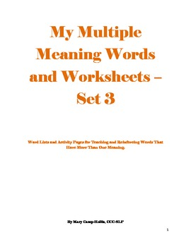 My Multiple Meaning Words and Worksheets - Set 3
