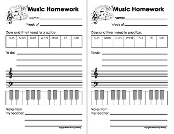 My Music Homework, Practice & Teaching Log Sheets(Printables for ...